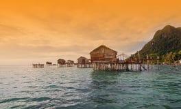 SIBUAN海岛,沙巴,马来西亚- 3月03 :未认出的海欺骗 免版税库存照片