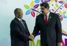 Sibusiso Barnabas Dlamini premiärminister av Konungariket Swaziland och venezuelansk president Nicolas Maduro arkivfoton