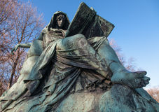 Sibyl, Bismarck Memorial. Bronze statue of the figure of Sibyl reading the book of history at the base of the Bismarck Memorial, Berlin stock photos