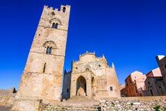 Sicília, Itália, torre da catedral de Erice Imagens de Stock
