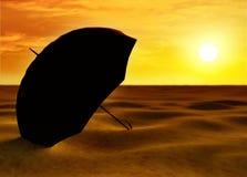 Siccità, Methaphor del cambiamento di clima con l'ombrello Immagini Stock Libere da Diritti
