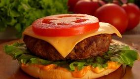 Sice des chutes de tomate sur l'hamburger clips vidéos