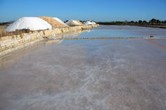 Sicely. Trapani's saline panorama Stock Photos