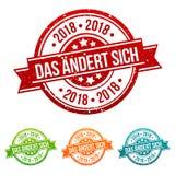 Sich DAS ändert Stempel 2018 verschiedenen herein Farben lizenzfreie abbildung