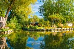 Sich hin- und herbewegende Gärten Amiens Frankreich Hortillonnages im September Stockbilder