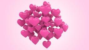 Sich hin- und herbewegende Herzen stock video