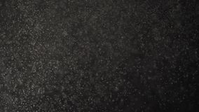 Sich hin- und herbewegende kleine Staubkörner fallen auf einen schwarzen Studiohintergrund stock video