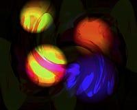 Sich hin- und herbewegende Kugeln in grünem Orange und violett lizenzfreie abbildung