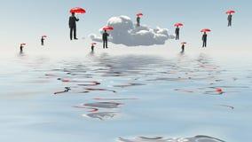 Sich hin- und herbewegende Männer mit Regenschirmen Stockbilder