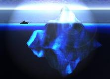 Sich hin- und herbewegender Eisberg im Ozean mit kleinem Boot Stockbilder