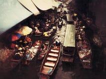 Sich hin- und herbewegender Markt, Thailand stockfotografie