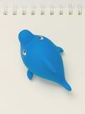 Sich hin- und herbewegender PlastikToy Shark auf einem Notizbuch Von Hand gezeichnete Tiefenlinien und Anschläge vektor abbildung