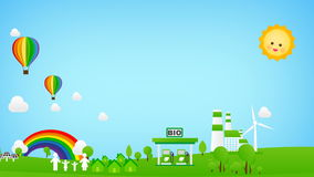 Sich hin- und herbewegender Regenbogenballon mit eco Ikone Popup- für Natureinsparung und Ökologiekonzept mit grünem Feld und bla stock video