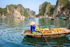 Sich hin- und herbewegendes Dorf in Halong-Bucht in Vietnam Stockbilder