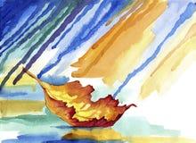 Sich hin- und herbewegendes Herbstblatt im Regen Stockfotografie