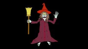 Sich hin- und herbewegendes Hexen-Lächeln und Welle-transparent/Alpha-Karikatur stock footage