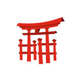 Sich hin- und herbewegendes Torii-Tor, Japan-Ikone, flache Art Stockfotografie
