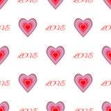 Sich wiederholende Herzen und Text Liebe Romantisches nahtloses Muster Auch im corel abgehobenen Betrag vektor abbildung