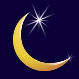 Sichelförmige Mond- und Sternvektorikone Abbildung Stockfotos