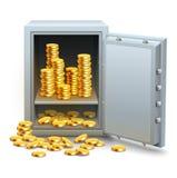 Sicher voll vom Goldmünzegeld Stockfotografie