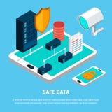 Sichere Daten-isometrisches Konzept des Entwurfes Stockbild