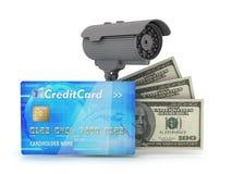 Sichere geld- Überwachungskamera und Dollar Lizenzfreies Stockbild