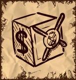 Sichere Ikone der Karikatur auf Weinlesehintergrund Lizenzfreies Stockbild