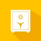 Sichere Ikone Sicheres und sicheres Geldkonzept des sicheren Metallkasten-Geldes Sicherheitsfinanzsicherer Schatzstahlspeicher Ge Lizenzfreies Stockbild