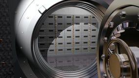 Sichere Tür des Banktresors gemacht vom Stahl, öffnend, um Lagerraum niederzulegen stock video