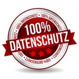 100% sicherer Ausweis-Fahnen-Knopf - Deutsch-Übersetzung: 100% Datenschutz lizenzfreie abbildung