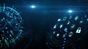 Sicheres Datennetz-Digital-Daten-Internetsicherheits-Digital-Cyberspace-Konzept Erdelement geliefert von der NASA stock abbildung