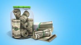 sicheres Konzept viele 100 US-Dollars Banknoten in einem Glasgefäß 3d bezüglich Stockfoto