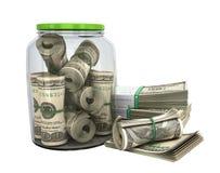 sicheres Konzept viele 100 US-Dollars Banknoten in einem Glasgefäß 3d bezüglich Stockfotos