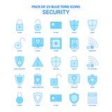 Sicherheit blaue Tone Icon Pack - 25 Ikonen-Sätze stock abbildung