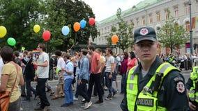 Sicherheit der homosexuellen Parade der Polizei stock video footage