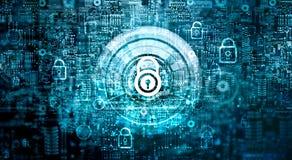 Sicherheit des globalen Netzwerks Cyber-Sicherheit, Schlüssel, geschlossenes Vorhängeschloß stockfotografie