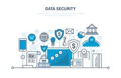 Sicherheit, Richtigkeit der Daten, Schutz, Sicherheitsleistungen, Zahlungen, Garantieintegritätsinformationen lizenzfreie abbildung