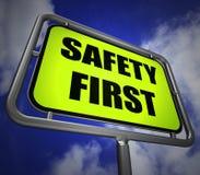 Sicherheit Wegweiser zuerst anzeigt Verhinderung Bereitschaft und Secu stock abbildung