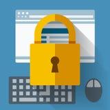 Sicherheit zugeschlossen Goldtext auf dunklem Hintergrund Lizenzfreie Stockfotografie