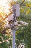 Sicherheits-Überwachungskamera und städtisches Video Lizenzfreie Stockfotos