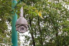 Sicherheits-Überwachungskamera und städtisches Video am allgemeinen Park Stockfoto