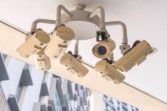 Sicherheits-Überwachungskamera und städtisches Video, elektronisches Gerät Stockfotografie