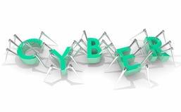 Sicherheits-Diebstahl Cyber Compuer Digital beschriftet Wort 3d Illustratio stock abbildung