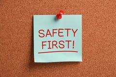 Sicherheits-erste klebrige Anmerkung Lizenzfreies Stockbild