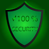 Sicherheits-Ikonen-Vektor-Illustration Sicherheit 100 gren beckgraund Lizenzfreie Stockfotos