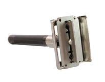 Sicherheits-Rasiermesser geöffnet mit Blatt Lizenzfreies Stockbild