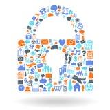 Sicherheits-Vorhängeschloss-Form-Ikonen-Satz Lizenzfreie Stockfotografie