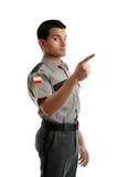 Sicherheitsbeamter oder Wärter, die Finger zeigen Stockbilder