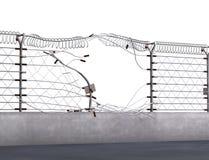 Sicherheitsbruch - elektrischer Zaun Stockbild