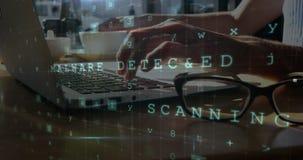 Sicherheitscodes und Schreiben auf Laptop 4k stock video footage